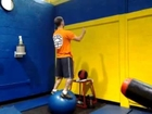 Exercise Ball Medicine Ball Pass and Goblet Squats