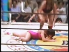 Female wrestling match Japan (figure 4 leg lock, armbar, irish whip, dpopkick and tilt a whirl slam)