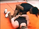 Male vs black strong female mixed wrestling match (armbar, arm lock, backbreaker, headscissors figure 4)