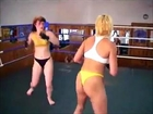Beautiful Russian women's bikini wrestling match (choking female wrestling, sideheadlock, bodyscissors)