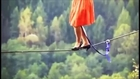 High-Heeled Shoes On The Tightrope Walking Girl